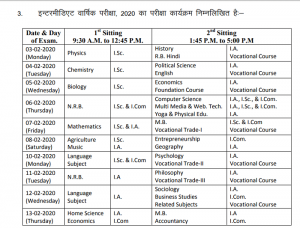 Bihar 12th Board Exam 2020 Time Table