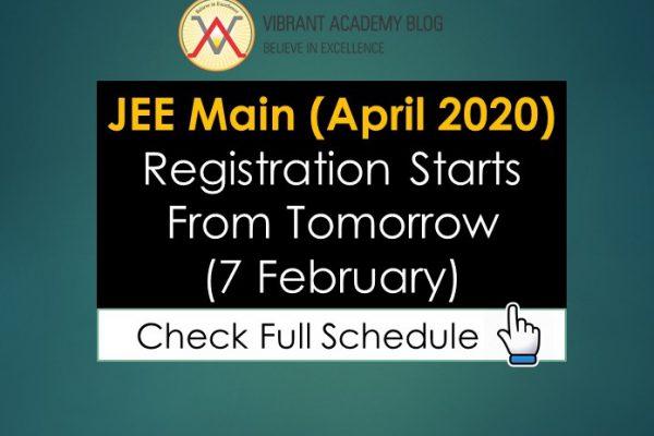 JEE Main (April 2020) Registration Starts From Tomorrow